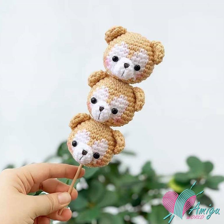 Bear keychain amigurumi free pattern