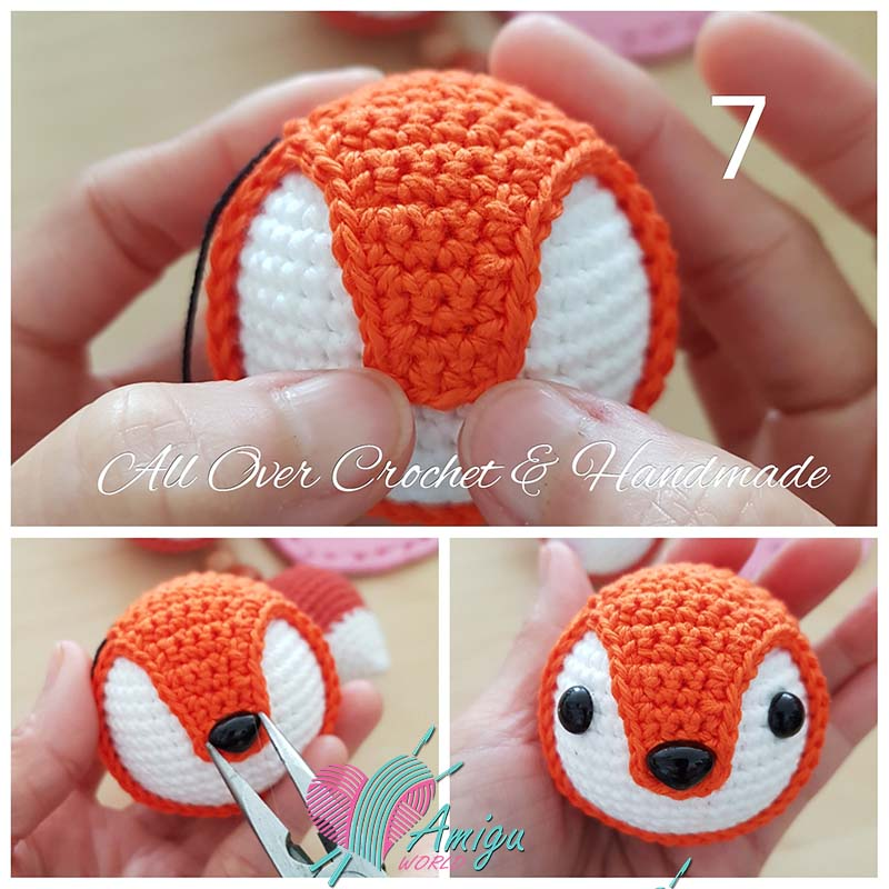 Step by Step tutorial crochet fox keychain amigurumi