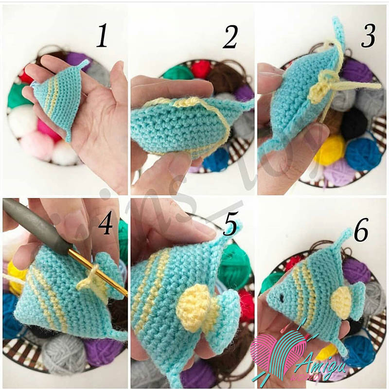 How to sew parts's Fish keychain amigurumi