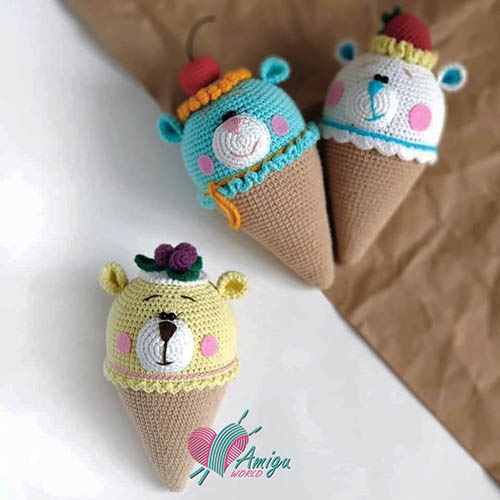 Ice cream bear amigurumi crochet pattern