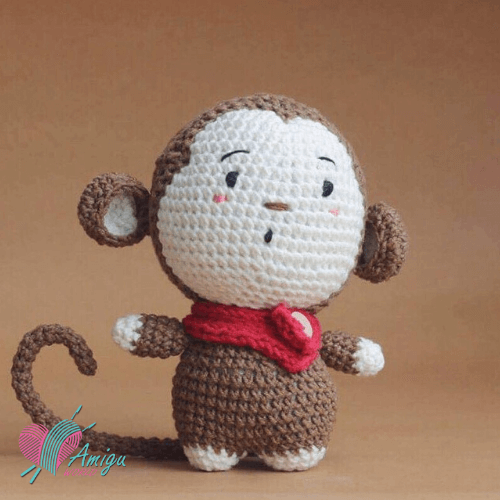 Fat monkey amigurumi free crochet pattern