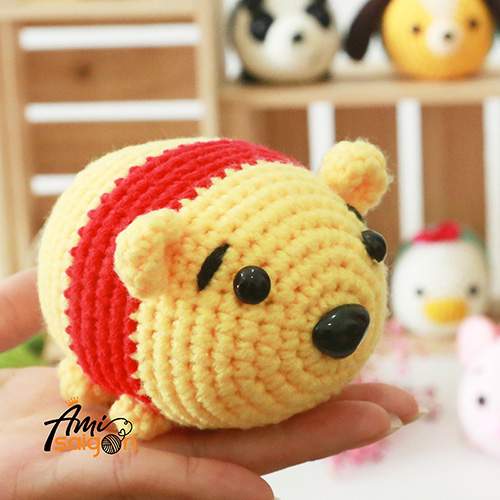 How to crochet small Pooh character Tsum Tsum amigurumi by Ami Saigon