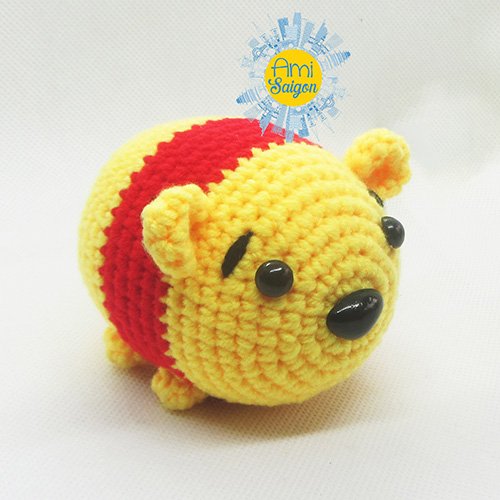 How to crochet small Pooh character Tsum Tsum amigurumi by Ami Saigon